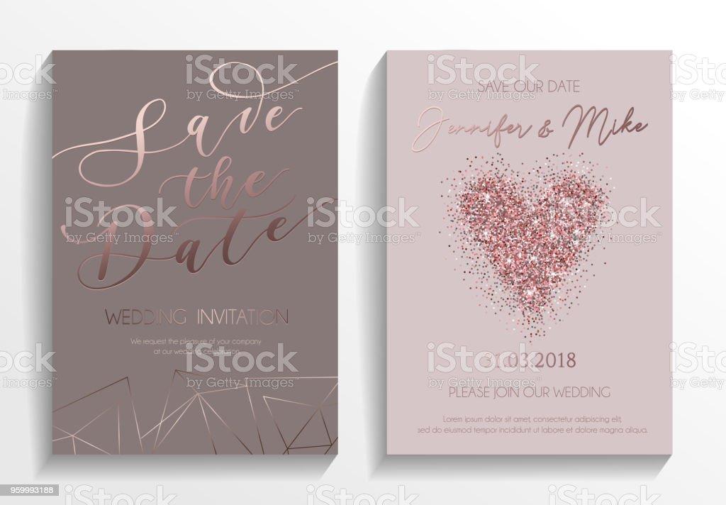 Wedding Invitation Card Set Modern Design Template With Rose Gold ...