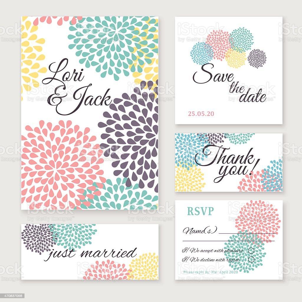 Wedding invitation card set. vector art illustration