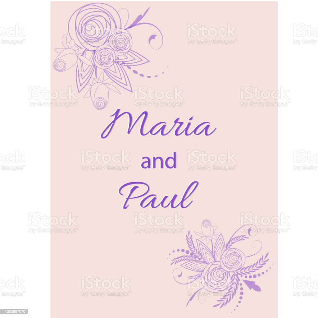 Wedding Invitation Card Suite With Flowers Design Vector
