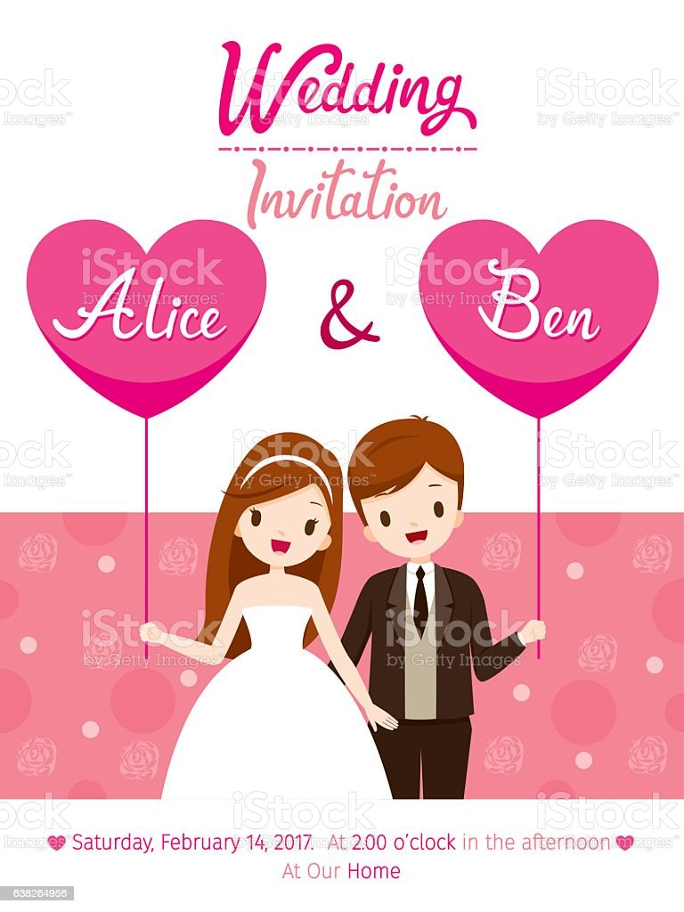 Ilustracion De Wedding Invitation Card Template Bride And Groom Y
