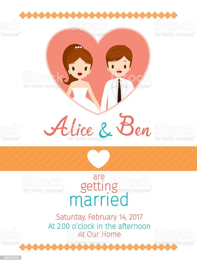 Wedding Invitation Card Template Bride And Groom Stock Vector Art ...