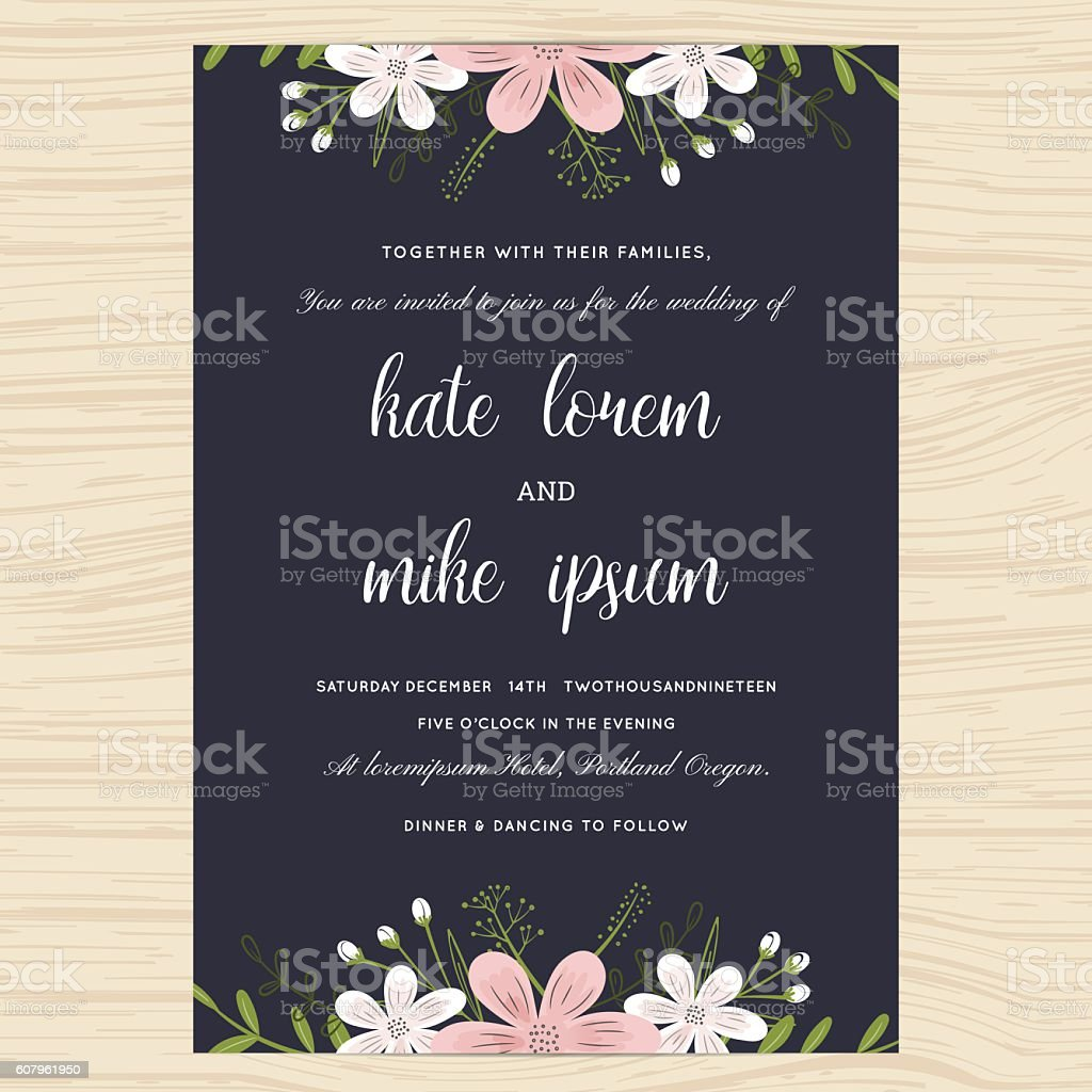 Wedding Invitation Card Template Decorate With Flower Floral Wreath ...