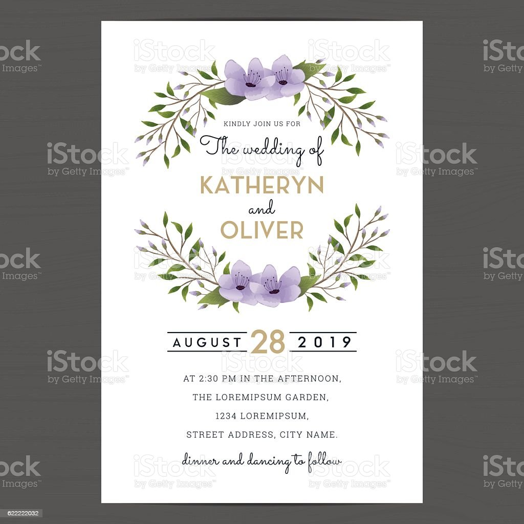 Wedding Invitation Card Template Decorate With Purple Flower Wreath
