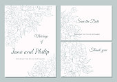 Wedding invitation card template design, bouquets of  peony  and tulip, vintage style. Card for Valentine's day, Mother's day.
