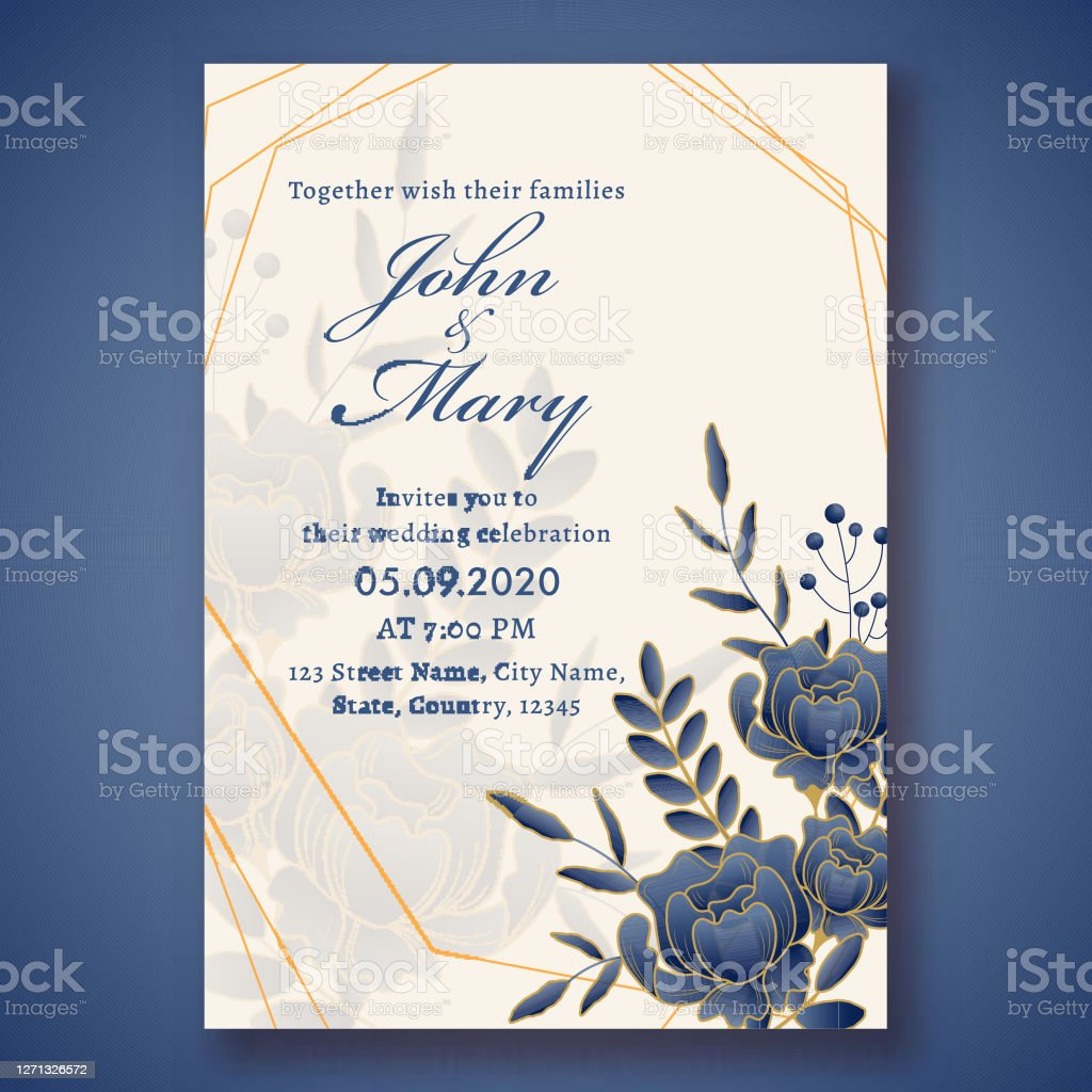Wedding Invitation Card Template Layout Decorated With Blue Rose Flowers  And Leaves And Event Details Stock Illustration - Download Image Now -  iStock