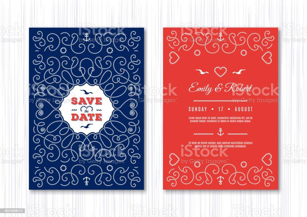 Wedding Invitation Card Template Marine Vector Nautical Save The