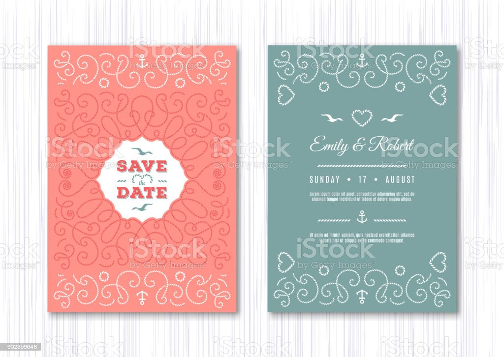 wedding invitation card template nautical save the date cards marine vector elegant frame