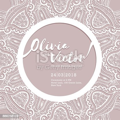 Wedding invitation card template of wedding card with lace border wedding invitation card template of wedding card with lace border vector ornament frame laser cut pattern stock vector art more images of anniversary stopboris Images