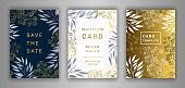 Wedding invitation card template EPS 10 vector set. Elegant eucalyptus branches, leaves, gypsophila flower background. Save the date phrase. Black, white, gold decor.
