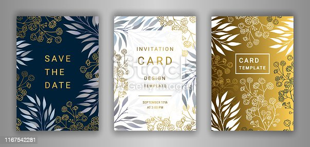 Wedding invitation card template EPS 10 vector set. Elegant eucalyptus branches, leaves, gypsophila flower background. Save the date phrase. Black, white, gold decor.
