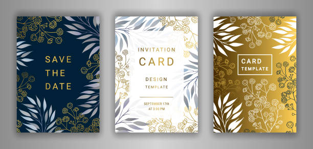 wedding invitation card template set. - anniversary designs stock illustrations