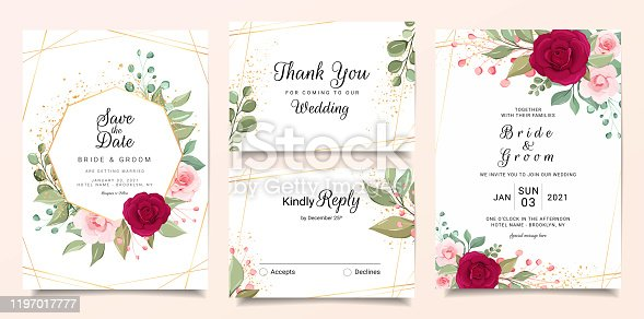 Wedding invitation card template set with flowers and gold geometric decoration. Burgundy and peach roses botanic illustration for background, save the date, greeting, poster, cover vector
