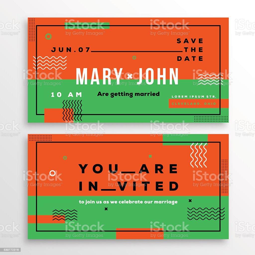 Wedding Invitation Card Template Ticket Shape Modern Abstract Flat ...