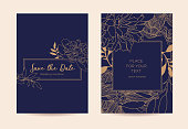 Golden peonies and leaves on a dark blue background. Can be used as a greeting card and as a certificate for a spa salon, restaurant and shop