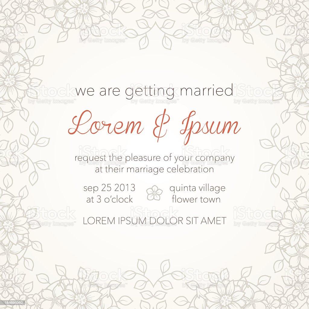 Wedding invitation card template vector art illustration