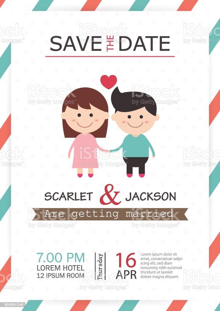 Wedding Invitation Card Template Vector Illustration Wedding