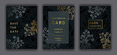 Wedding invitation card template EPS 10 vector set. Elegant gold, silver colored branches, beautiful gypsophila flowers on the dark background. Save the date phrase.