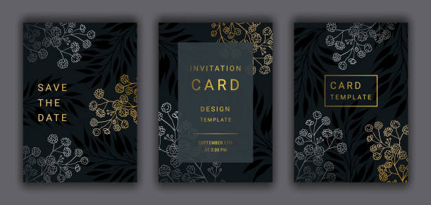 Wedding invitation card template vector set. Wedding invitation card template EPS 10 vector set. Elegant gold, silver colored branches, beautiful gypsophila flowers on the dark background. Save the date phrase. anniversary patterns stock illustrations