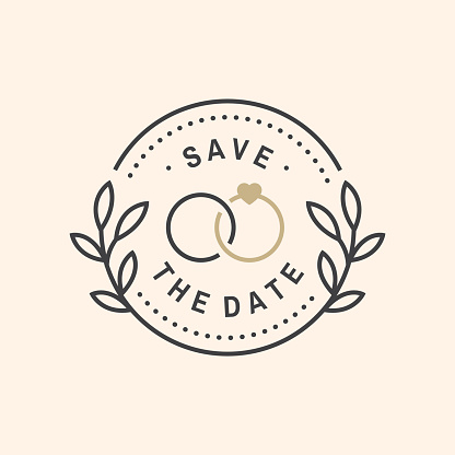 Wedding invitation card template. Vector. Thin line geometric badge. Outline icon for save the date invitation card design. Modern minimalist design with wedding rings and leaf decor