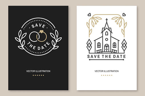 Wedding invitation card template. Vector Thin line geometric badge. Outline icon for save the date invitation card design. Modern minimalist design with wedding church, arch, rings and leaf, flowers