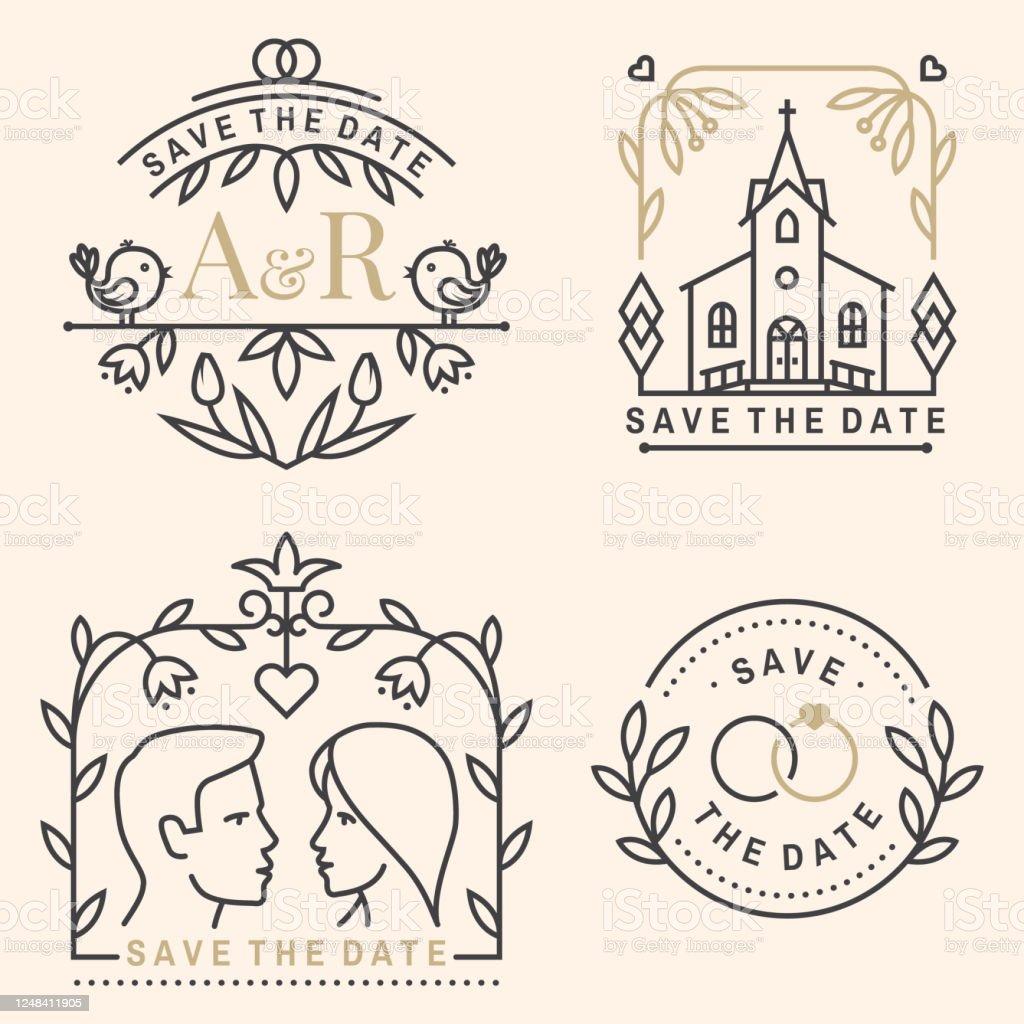 Wedding Invitation Card Template Vector Thin Line Geometric Badge Intended For Church Wedding Invitation Card Template