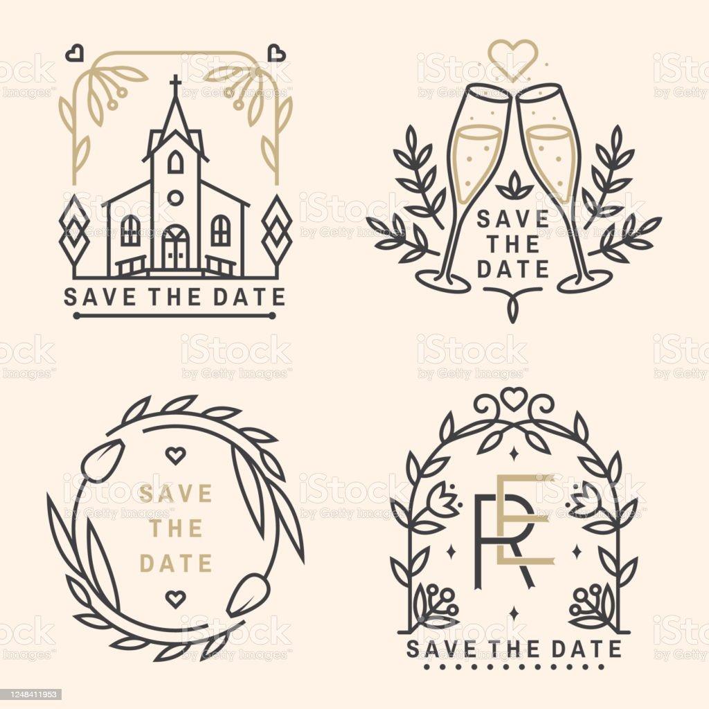 Wedding Invitation Card Template Vector Thin Line Geometric In Church Wedding Invitation Card Template