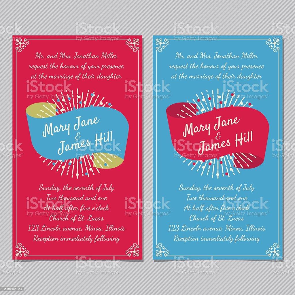 Wedding Invitation Card Template Vector Vintage Background Stock ...
