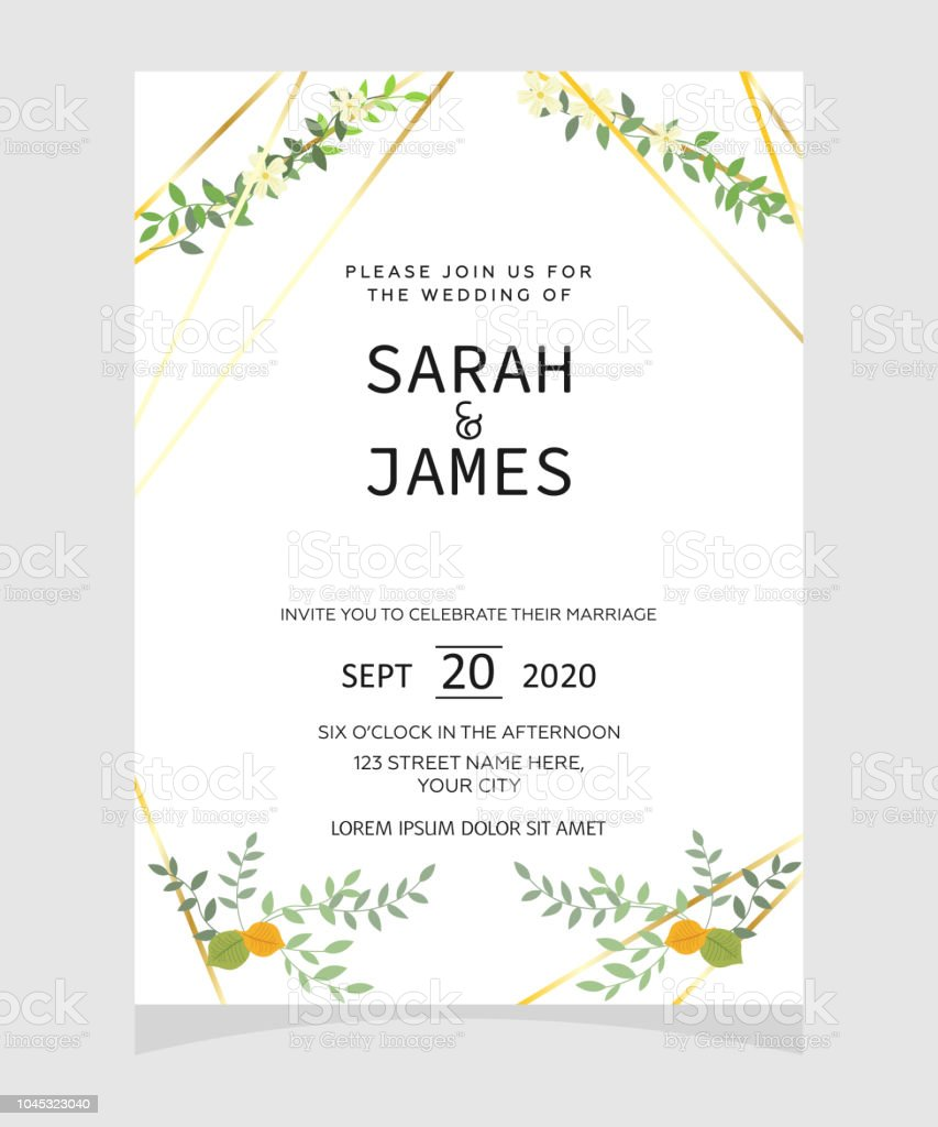 Wedding Invitation Card Template With Copper Color Flower Floral