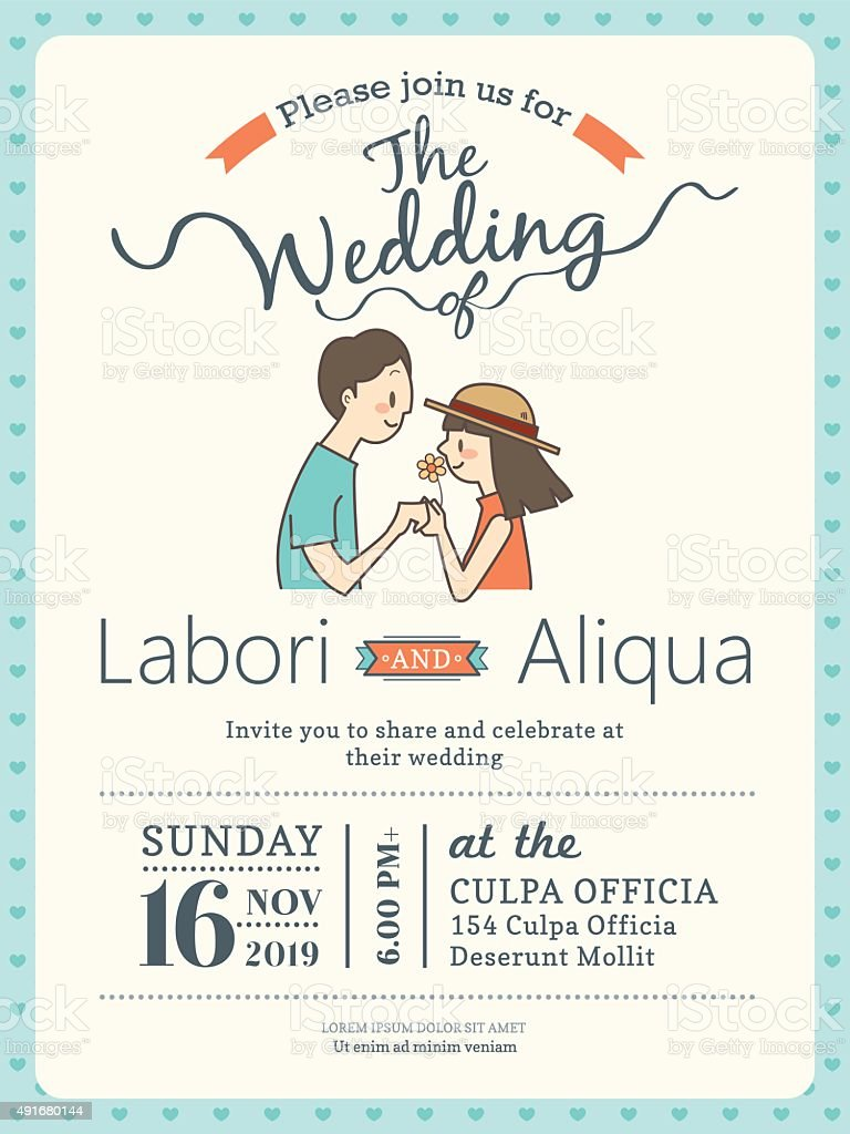 Wedding Invitation Card Template With Cute Groom And Bride Stock ...