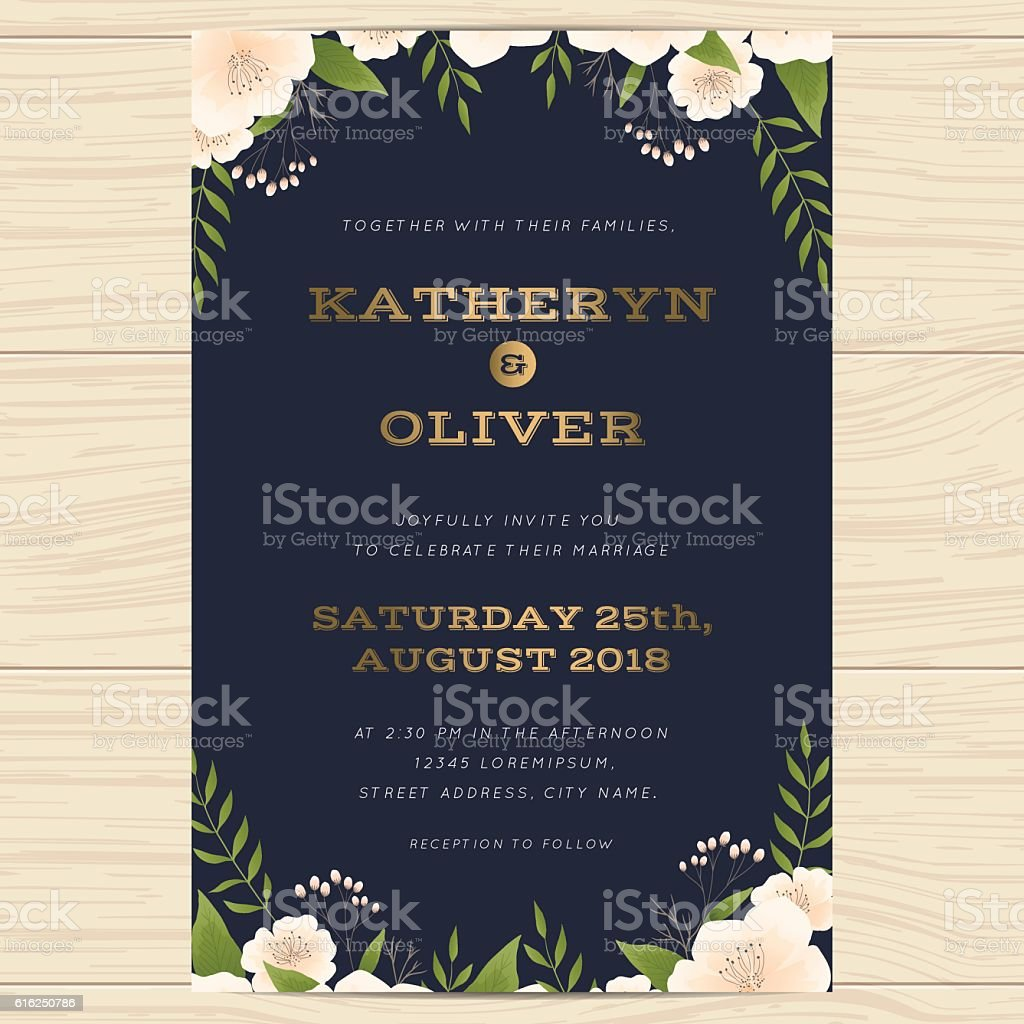 Wedding invitation card template with floral leaf in navy blue. vector art illustration