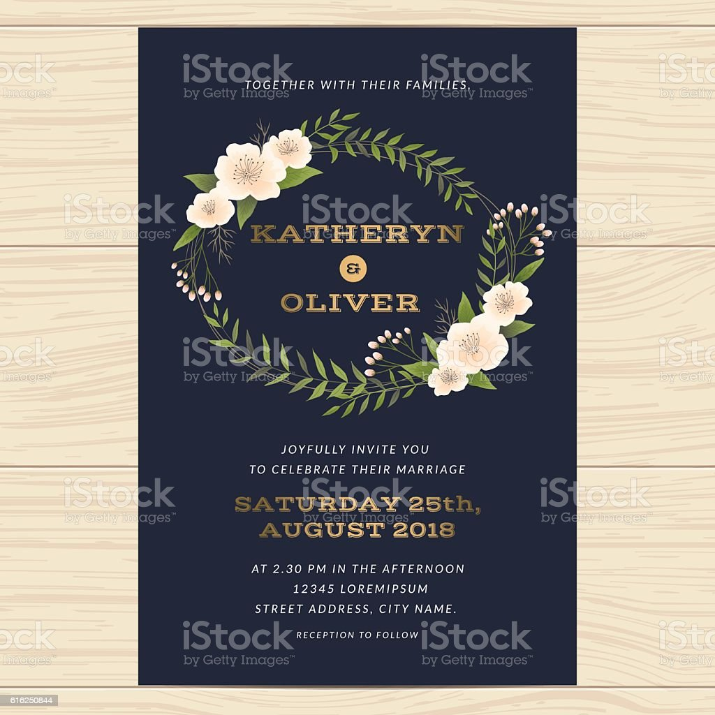 Wedding Invitation Card Template With Floral Leaf In Navy Blue Stock ...