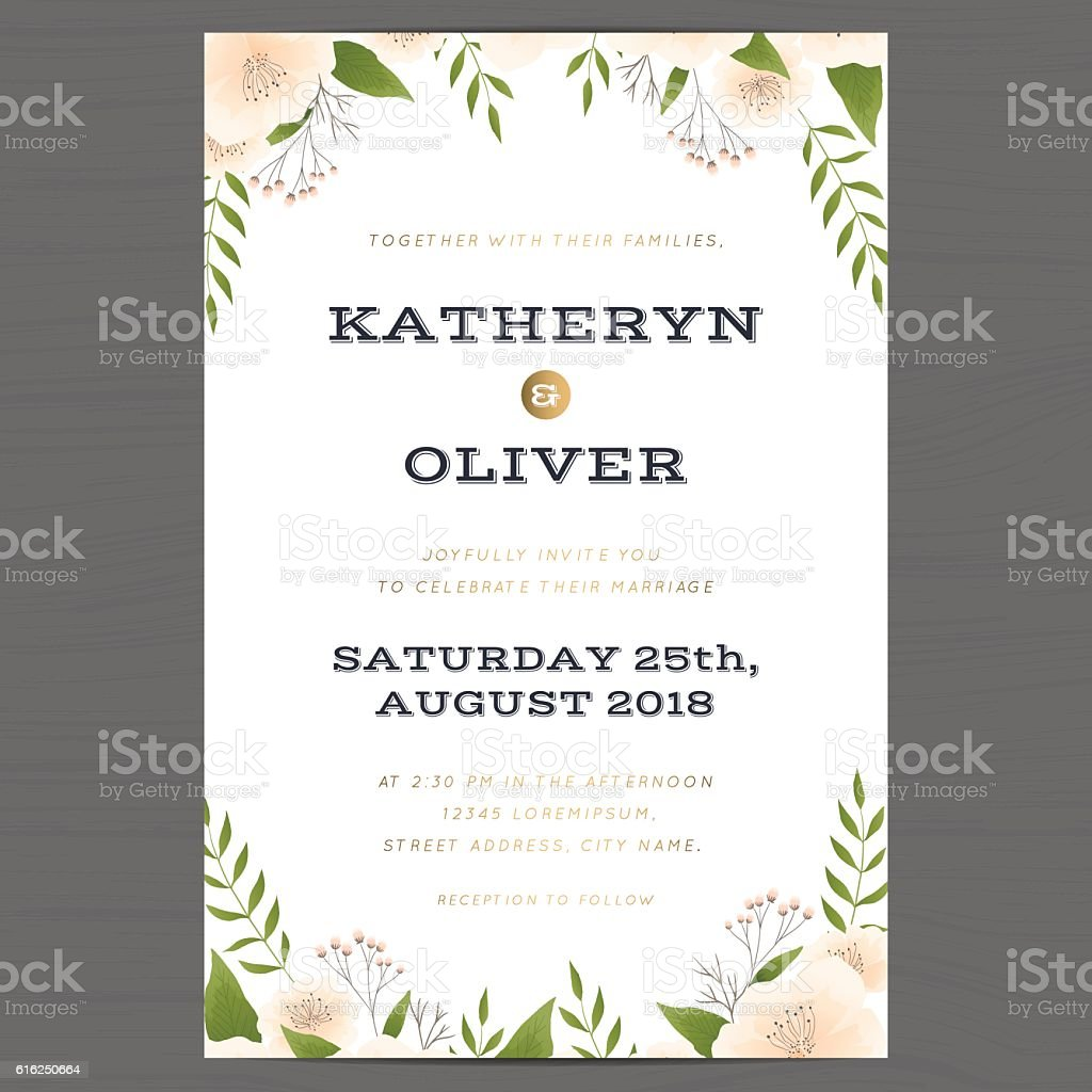 Wedding Invitation Card Template With Flower Floral Leaf Background ...