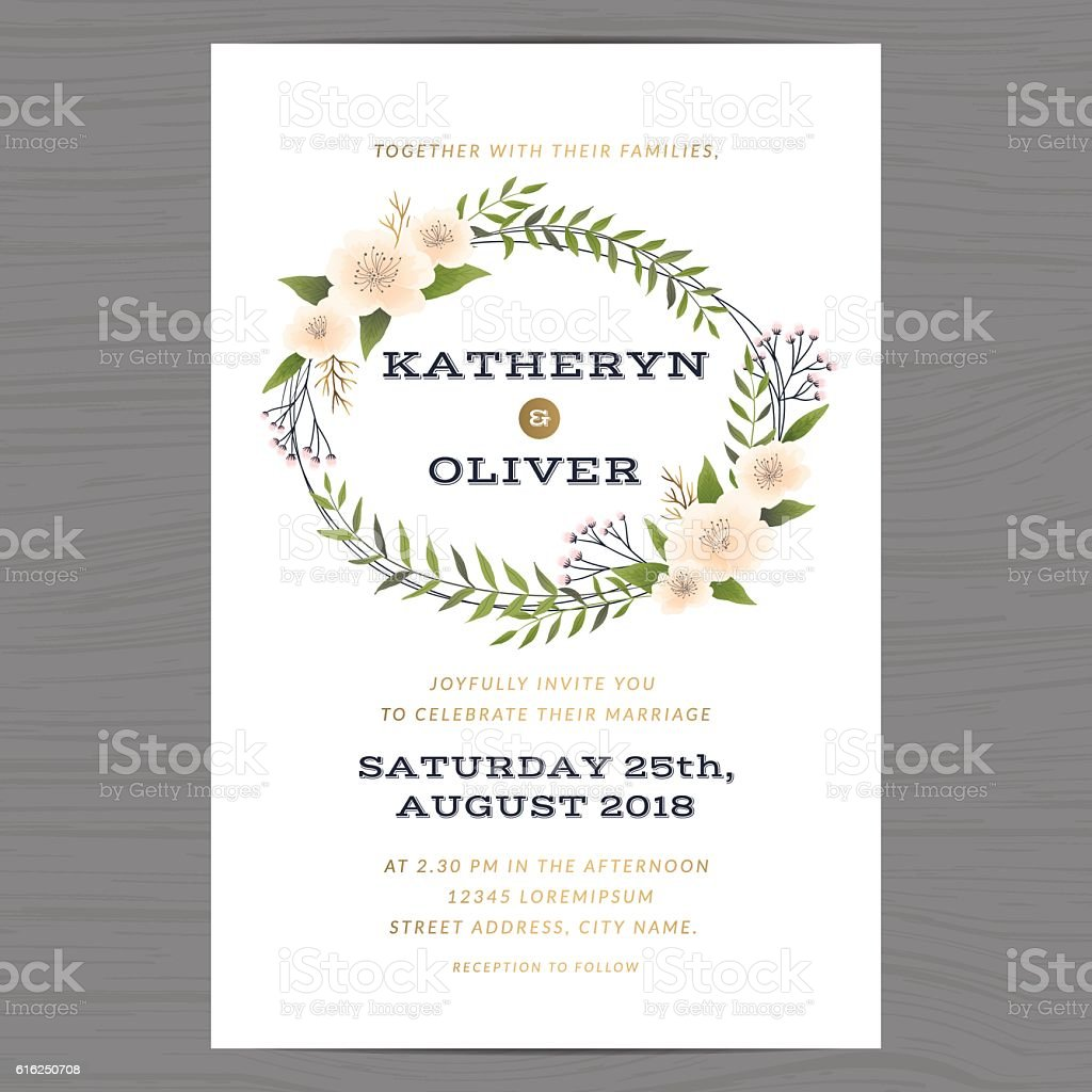 Wedding Invitation Card Template With Flower Floral Leaf