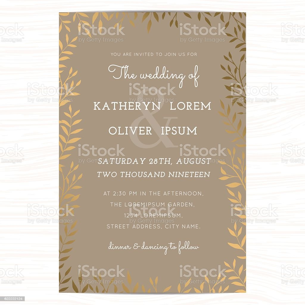Wedding invitation card template with golden flower floral leaf. vector art illustration