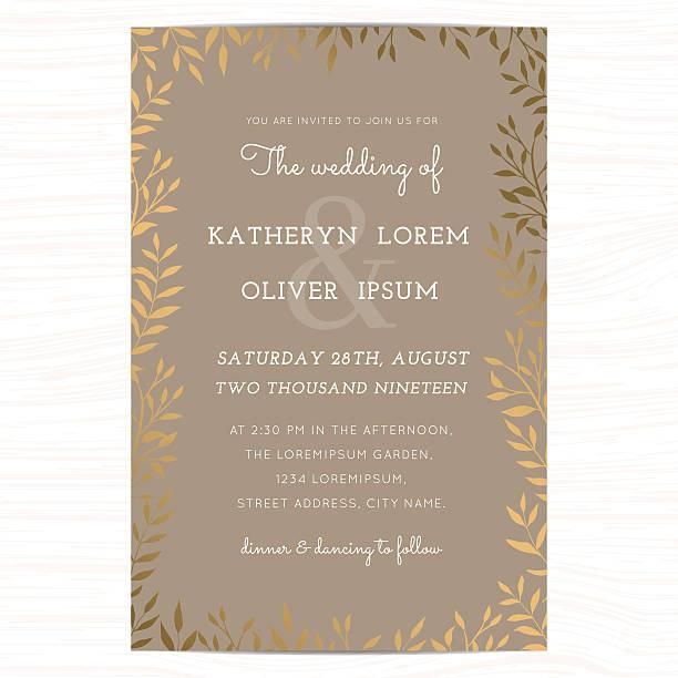 ilustraciones, imágenes clip art, dibujos animados e iconos de stock de wedding invitation card template with golden flower floral leaf. - prometido