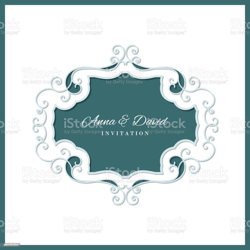 Wedding Invitation Card Template With Laser Cutting Filigree Frame
