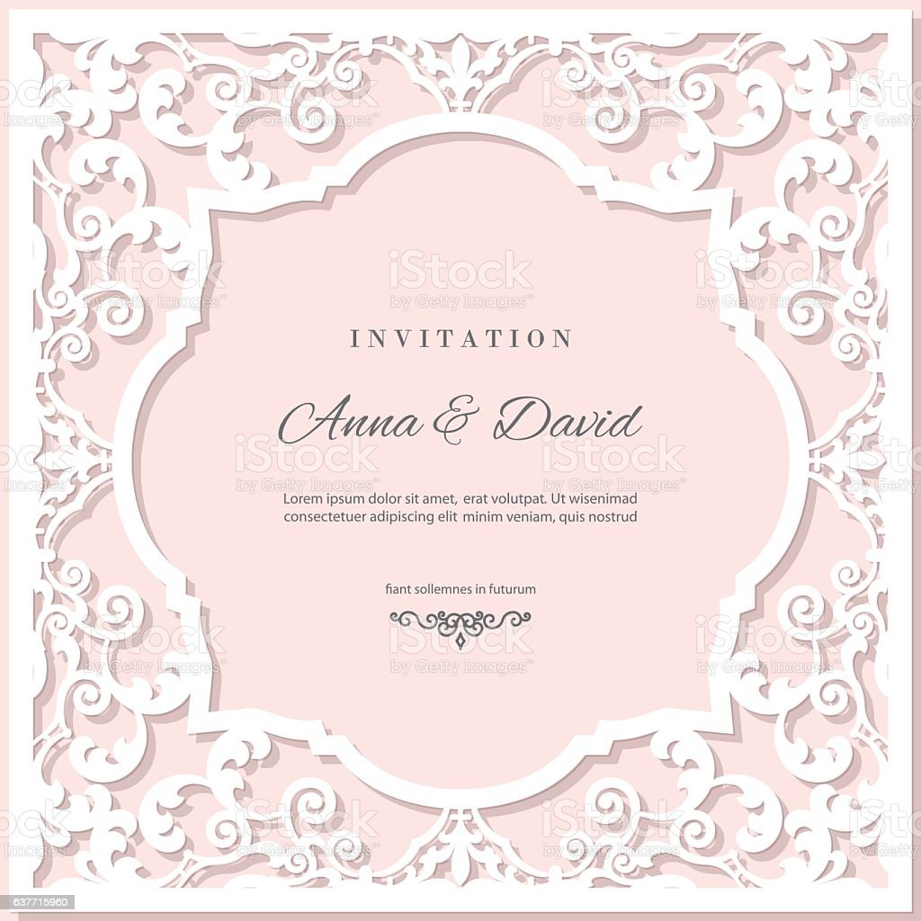 Wedding invitation card template with laser cutting frame pastel wedding invitation card template with laser cutting frame pastel pink royalty free wedding invitation stopboris Images