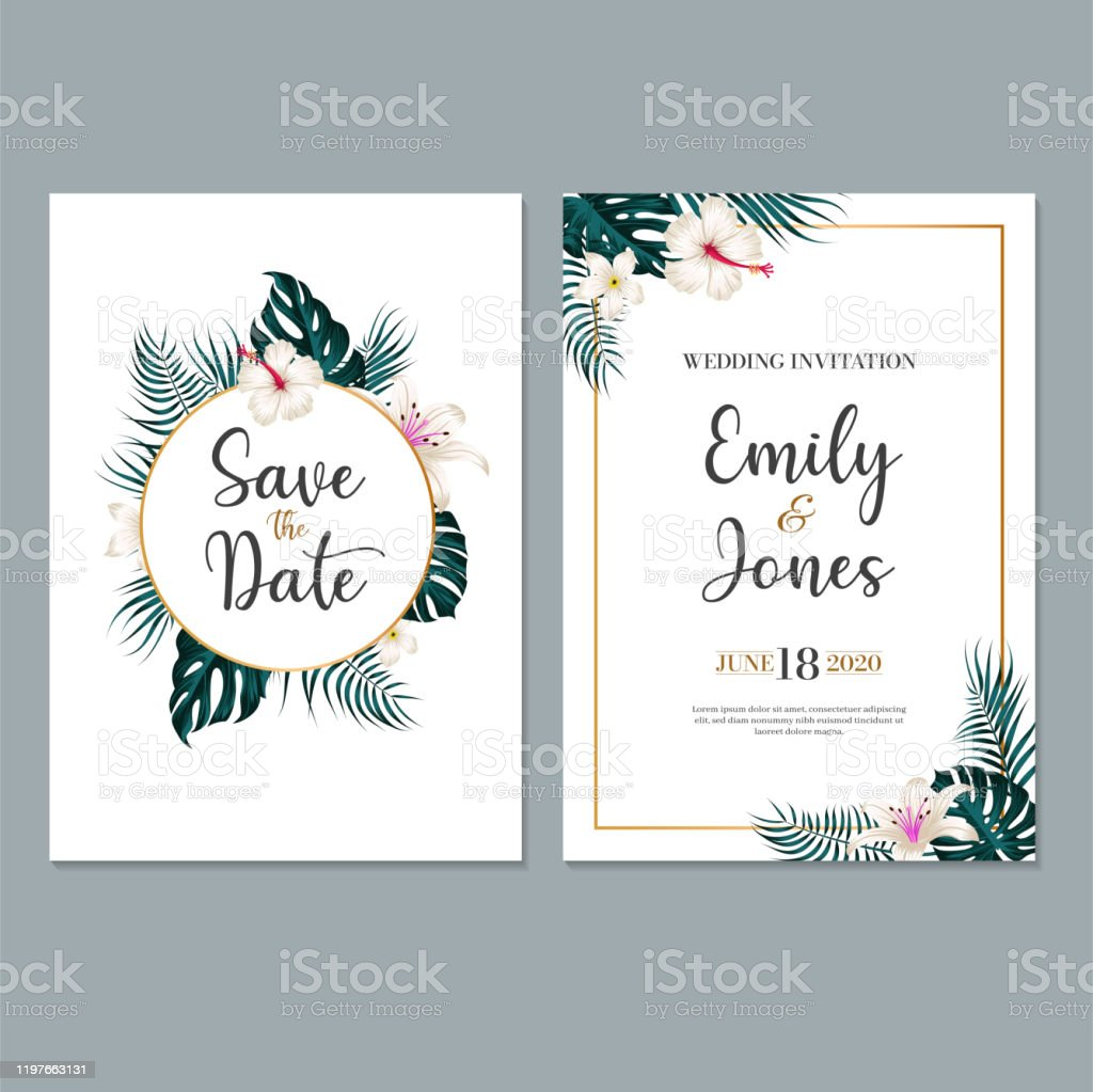 Wedding Invitation Card Template With Leaf Floral Background Stock  Illustration - Download Image Now