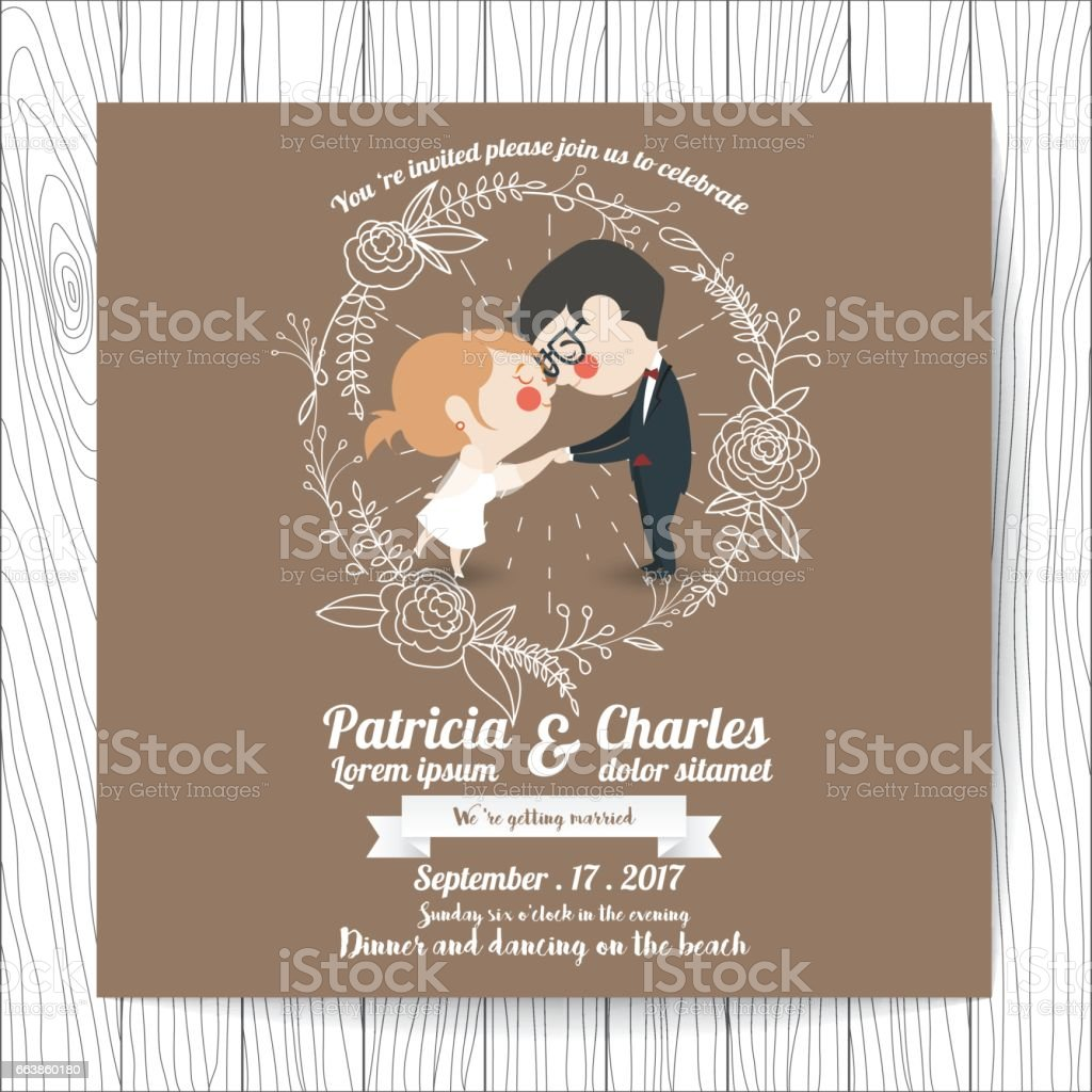 wedding invitation card templates cartoon character bride holding