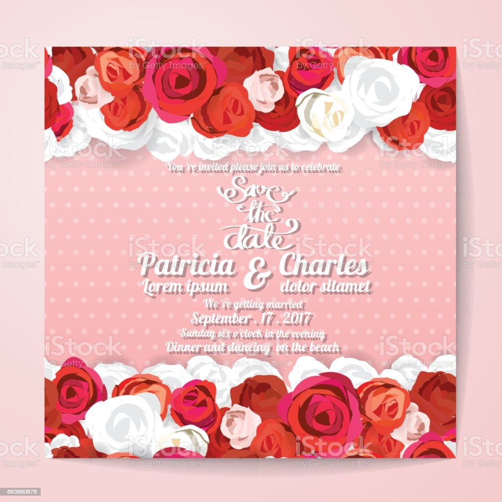 Wedding Invitation Card Templates Flower Rose Blossom On Pink Dot ...