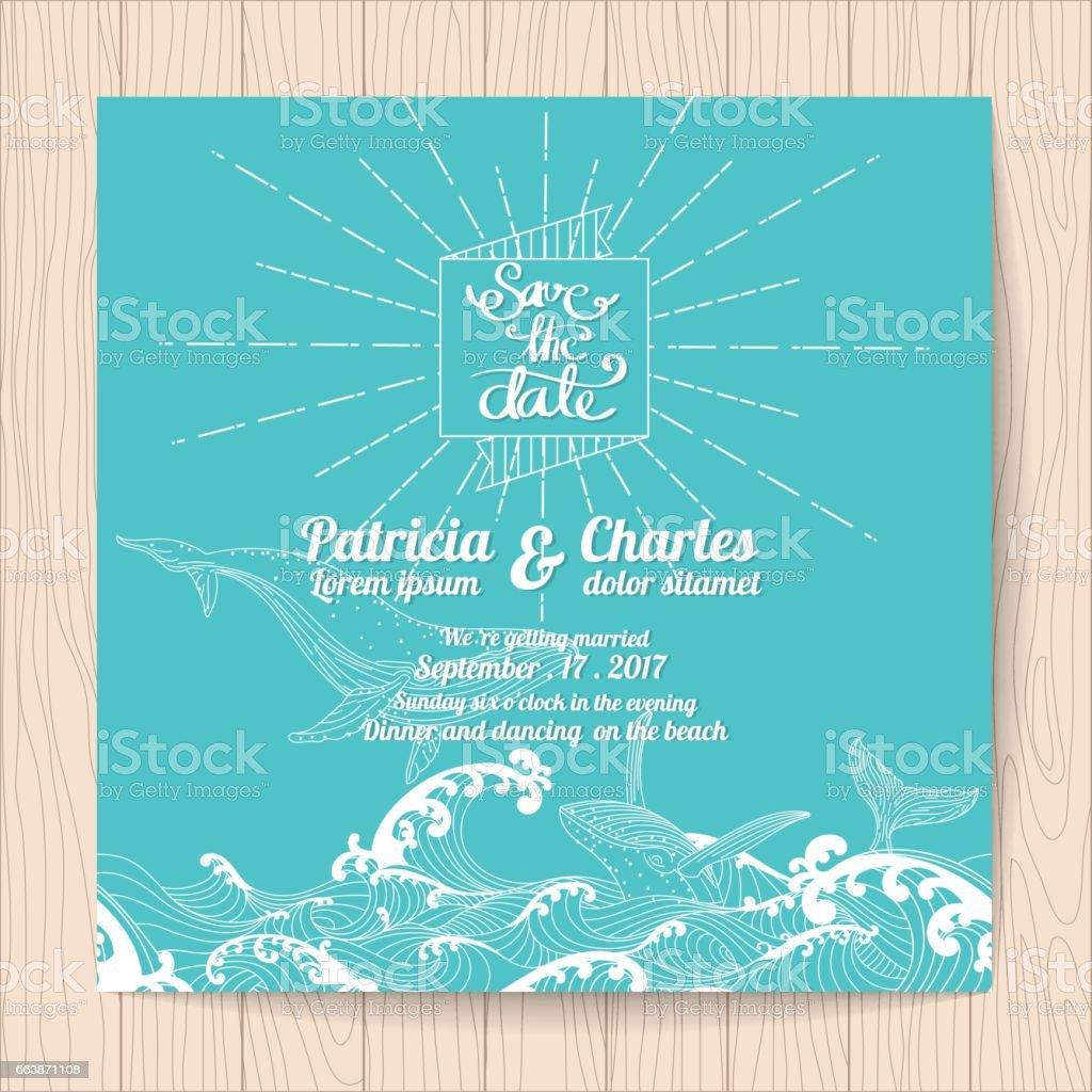 Wedding Invitation Card Templates Ocean Theme Stock Vector Art ...