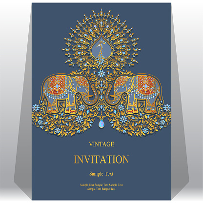 Wedding Invitation Card Templates With Gold Elephant