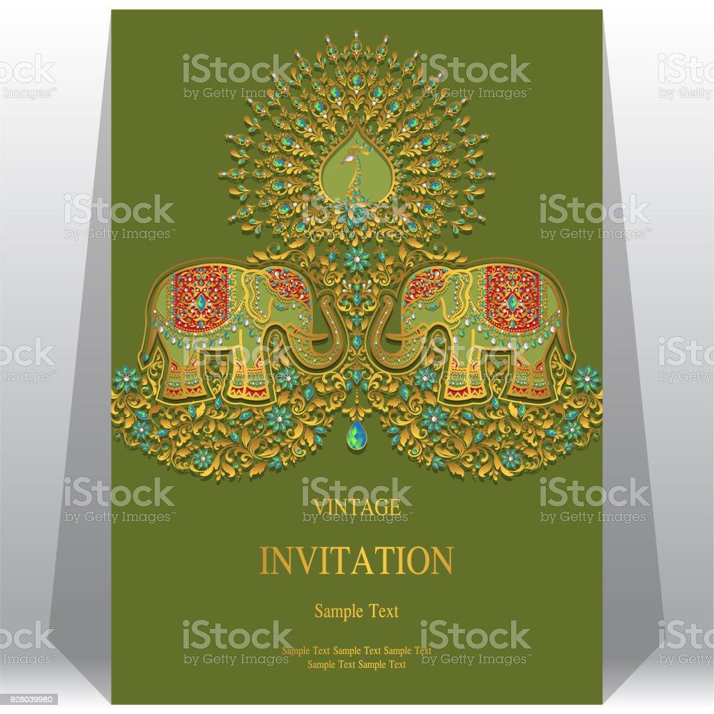 Ilustración de Plantillas De La Tarjeta De Invitación De Boda Con ...