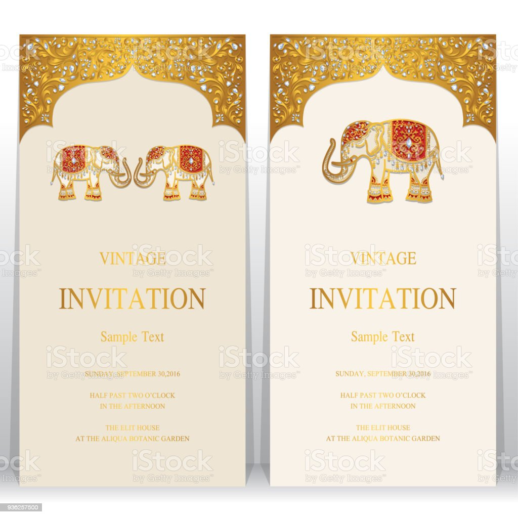 Wedding invitation card templates with gold elephant patterned and wedding invitation card templates with gold elephant patterned and crystals on paper color background royalty stopboris Gallery