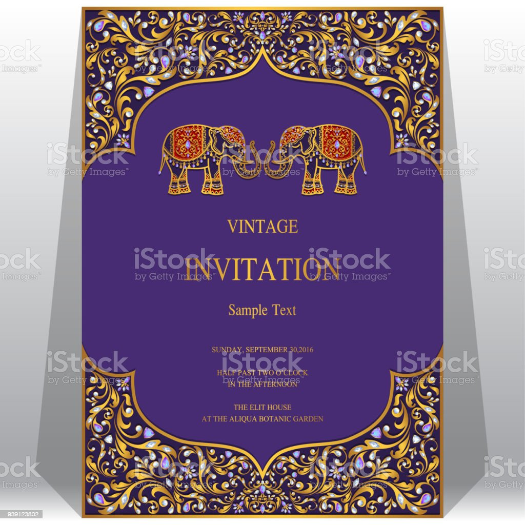 Wedding invitation card templates with gold elephant patterned and wedding invitation card templates with gold elephant patterned and crystals on paper color background royalty stopboris Images
