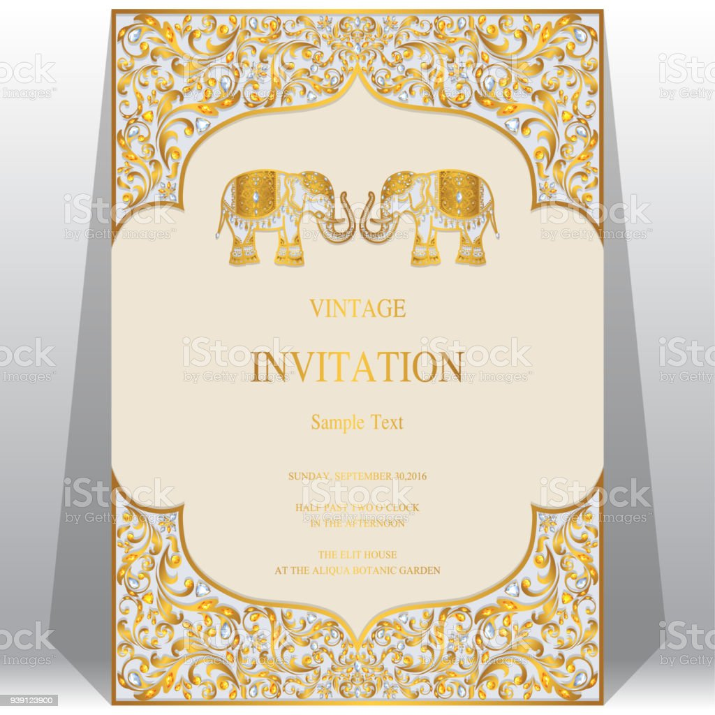 Wedding invitation card templates with gold elephant patterned and wedding invitation card templates with gold elephant patterned and crystals on paper color background wedding stopboris Gallery