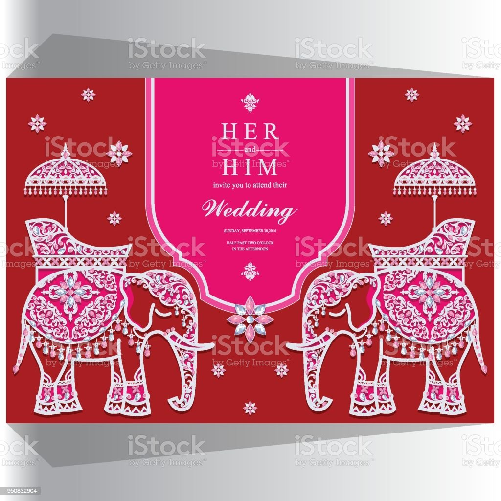 Wedding Invitation Card Templates With Gold Elephant Patterned And ...