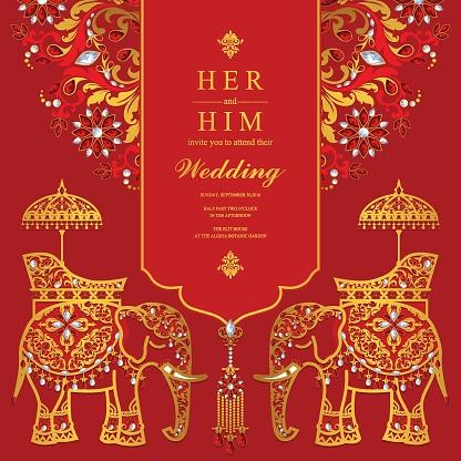 결혼식 초대 카드 골드 코끼리 무늬와 종이 색상 배경 결정 서식 파일이 결정체에 대한 스톡 벡터 아트 및 기타 이미지