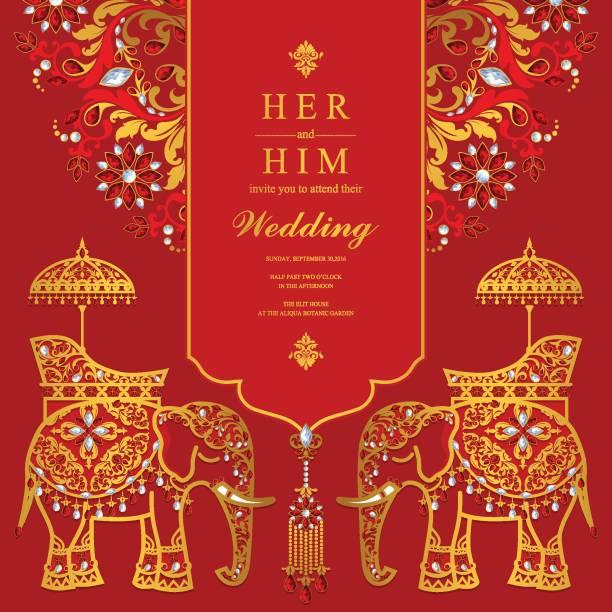 hochzeit einladung kartenvorlagen mit gold elephant gemustert und kristallen auf papierfarbe hintergrund. - elefantenkunst stock-grafiken, -clipart, -cartoons und -symbole