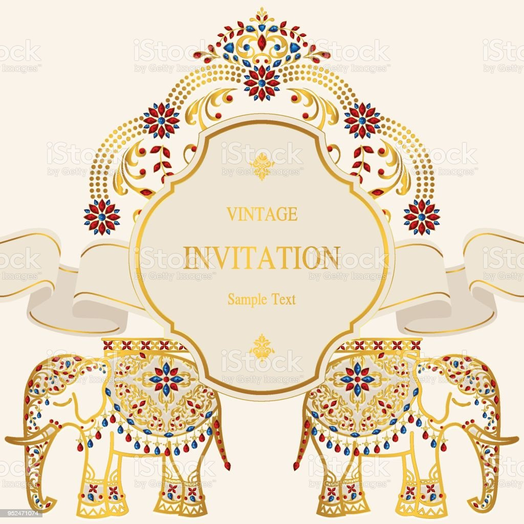 wedding invitation card templates with gold elephant patterned and